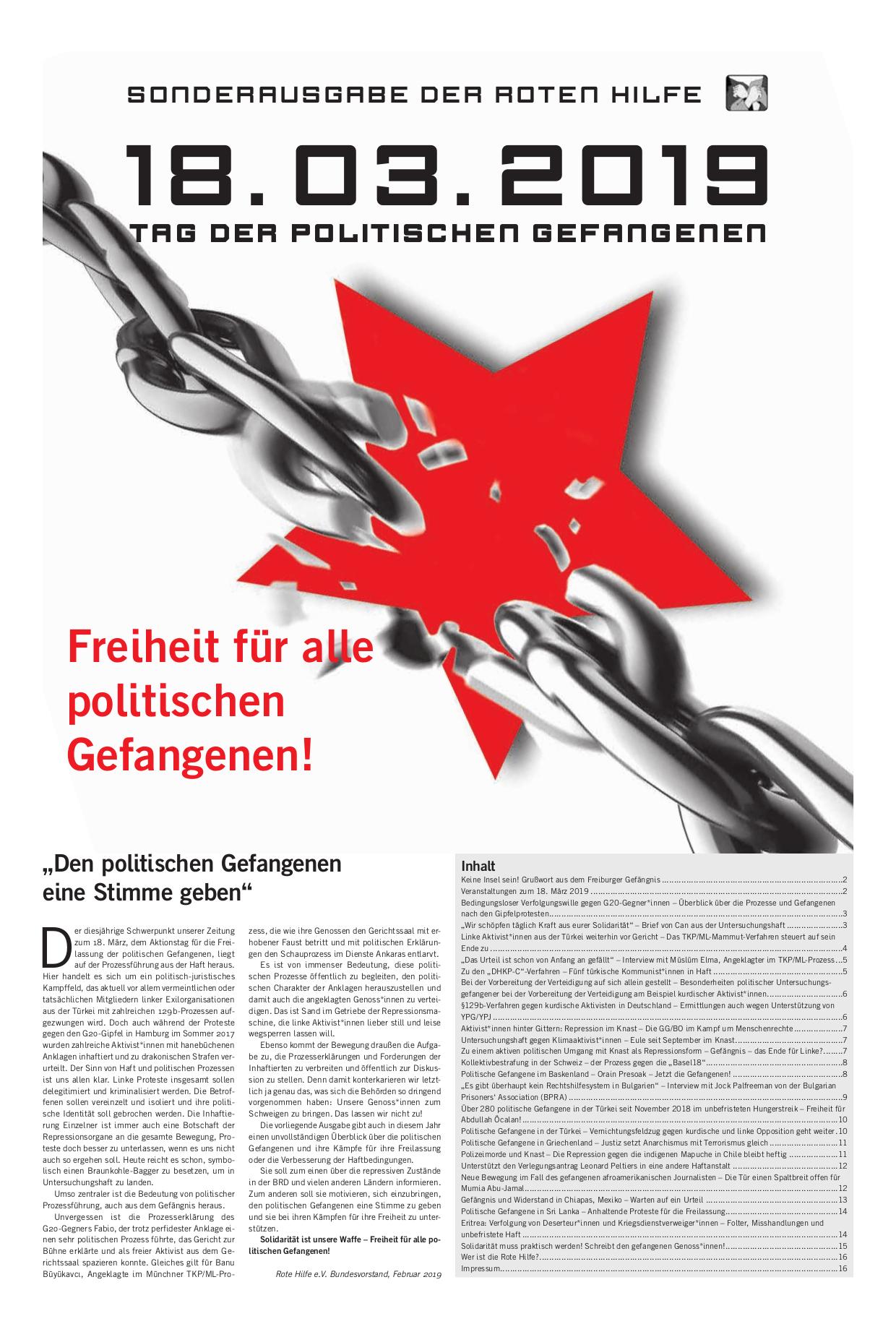 Sonderzeitung zum Tag des politischen Gefangenen